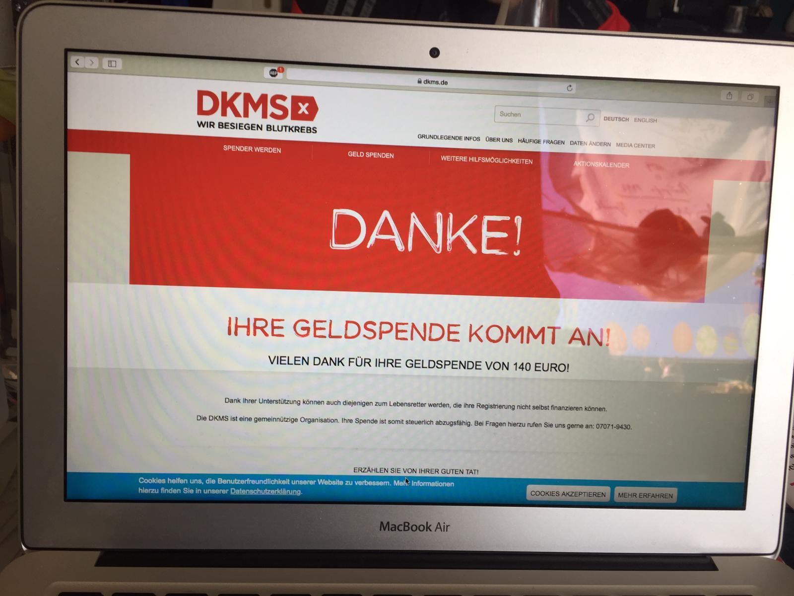 DKMS Spende in Höhe 140 EUR erfolgte im März 2020
